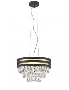 Lampa wisząca kryształowa Naica czarno złota P0525-04A-P7D7 Zuma Line