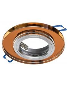 Oczko sufitowe okrągłe szklane bursztynowe oprawa podtynkowa EKOS207 - Milagro