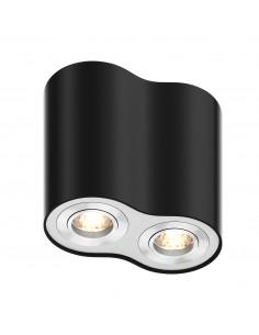 Downlight 2 punktowy Rondoo tuba regulowana czarna 50407-BK - Zuma Line
