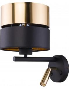 Kinkiet 2 punktowy Hilton czarno złoty z włącznikiem 2579 - TK Lighting