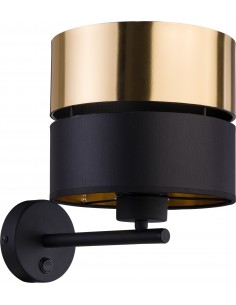 Kinkiet Hilton 1 punktowy czarno złoty z włącznikiem 4344 - TK Lighting
