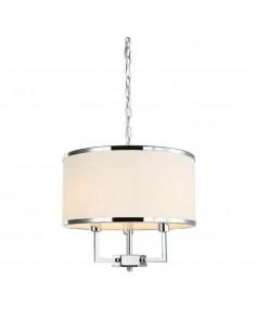Lampa wisząca 3 punktowa chrom Casa cromo S z kremowym abażurem - Orlicki Design