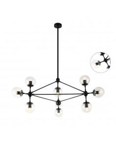 Lampa sufitowa 10 punktowa szklana czarna Bao nero claro szklane kule - Orlicki Design