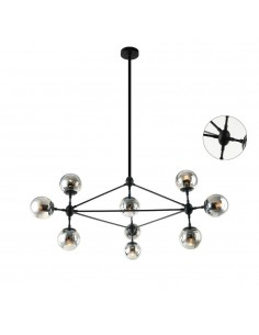 Lampa sufitowa 10 punktowa szklana Bao nero fume czarna kule dymione- Orlicki Design