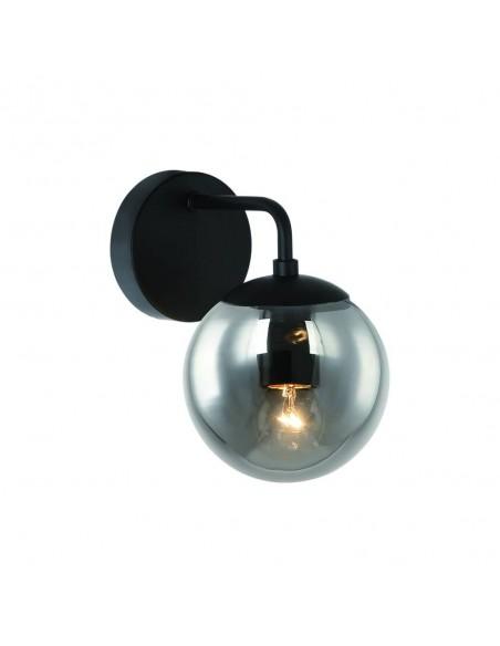 Kinkiet szklany 1 punktowy Bao parette nero fum szklany klosz dymiony - Orlicki Design