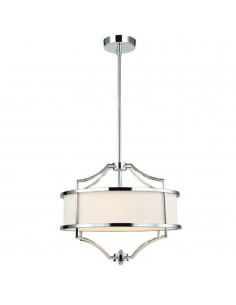Lampa sufitowa 4 punktowa chrom Stesso cromo S kremowy abażur - Orlicki Design