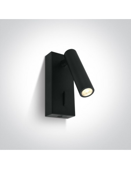 Kinkiet regulowany z włącznikiem LED Kandila czarny 65746/B/W - OneLight