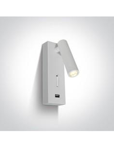 Kinkiet z włącznikiem i USB Kandila LED biały 65746A/W/W - OneLight