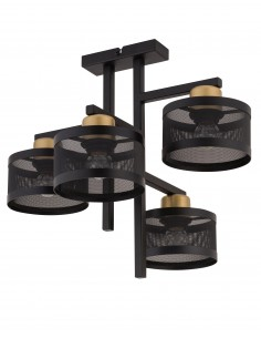 Lampa sufitowa Off czarno złota 4 punktowa metalowa 32135 - Sigma
