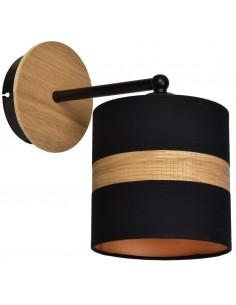Kinkiet Terra czarny z drewnem nowoczesny MLP6289 - Milagro