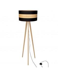 Lampa stojąca Terra 1 punktowa czarna z drewnem MLP6293 - Milagro