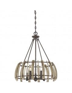 Wood Hollow lampa wisząca z drewnem QZ-WOOD-HOLLOW-5P - Quoizel